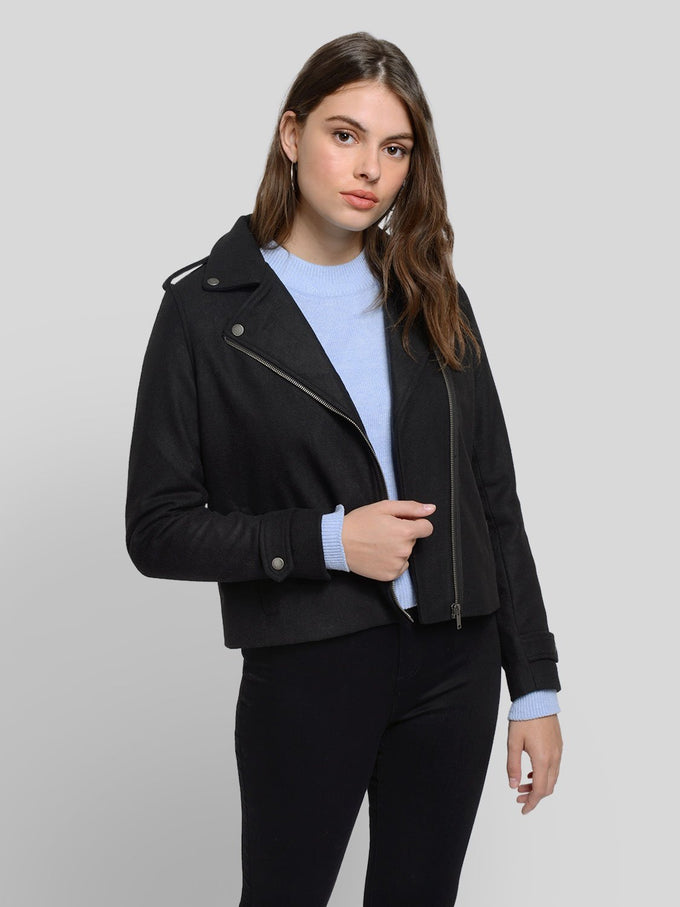 Wool Moto Jacket Black