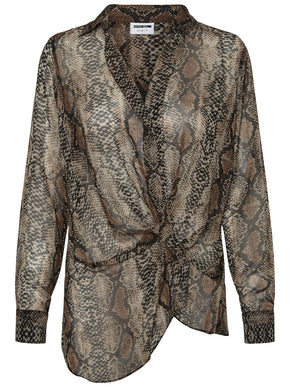 HIGH-LOW SNAKE BLOUSE