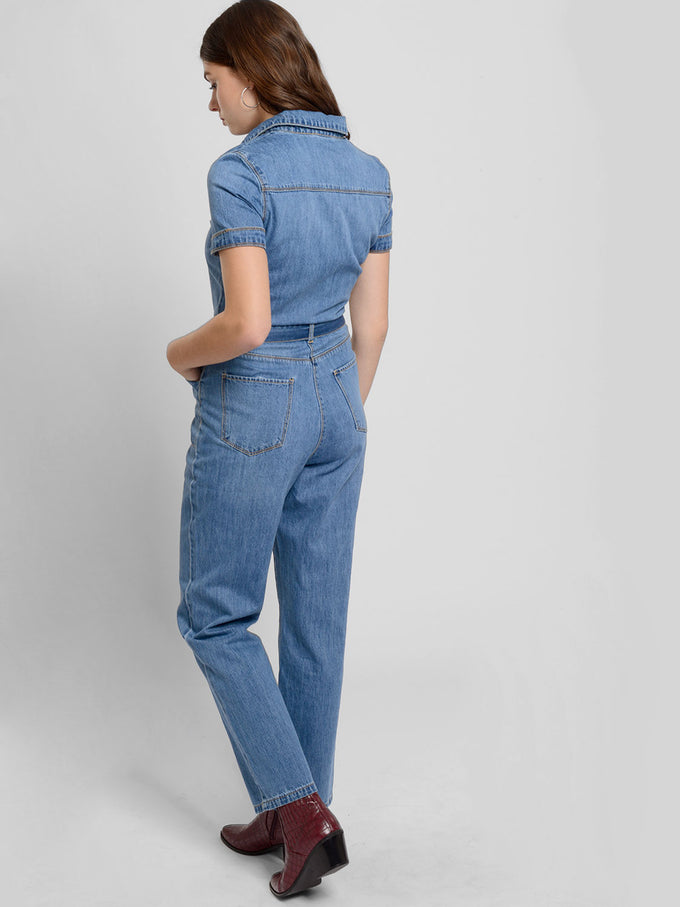 Short Sleeve Denim Jumpsuit With Belt Medium Blue Denim