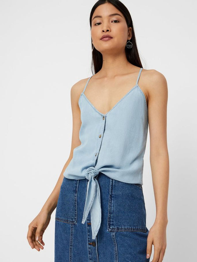 LYOCELL CAMI WITH KNOT Light Blue Denim