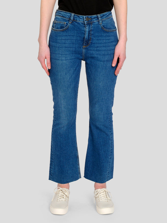 NMJANE HIGH WAIST CROPPED FLARE JEANS Medium Blue Denim