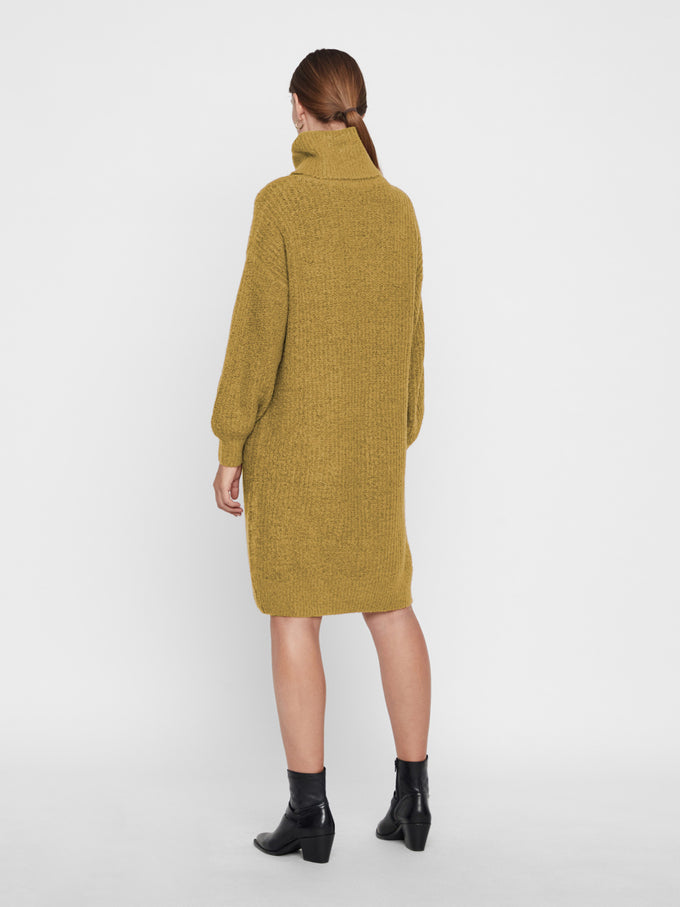 Oversized Turtleneck Sweater Dress Green Sulphur