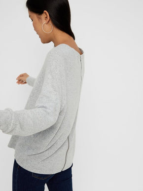 Brushed Sweater With Back Zip