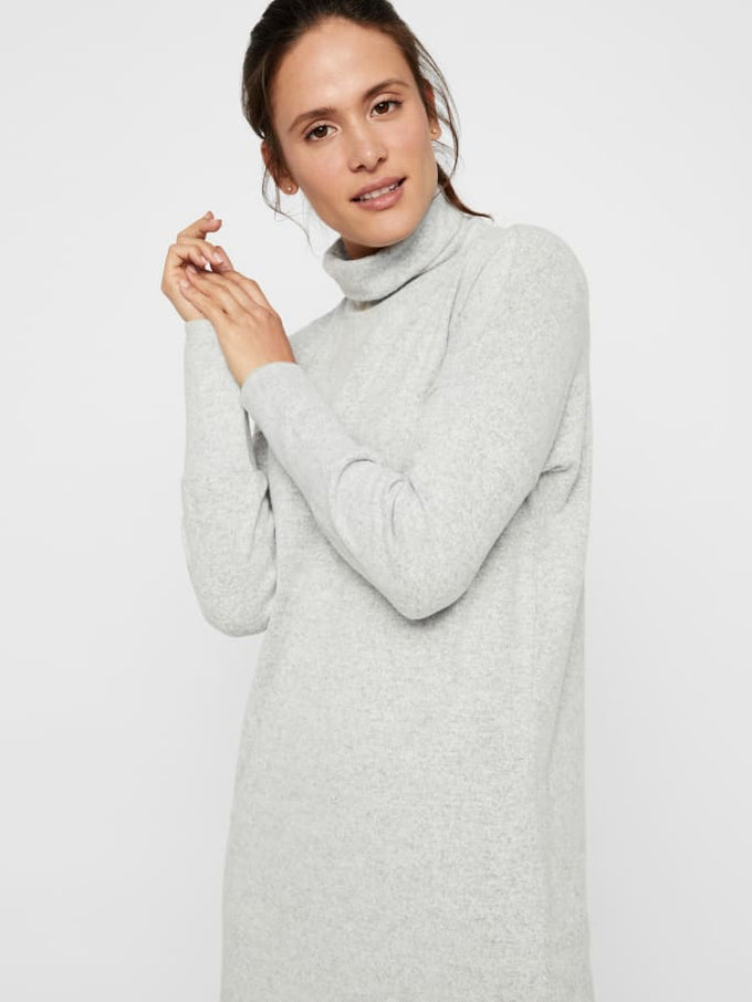 Turtleneck Sweater Dress Light Grey Melange