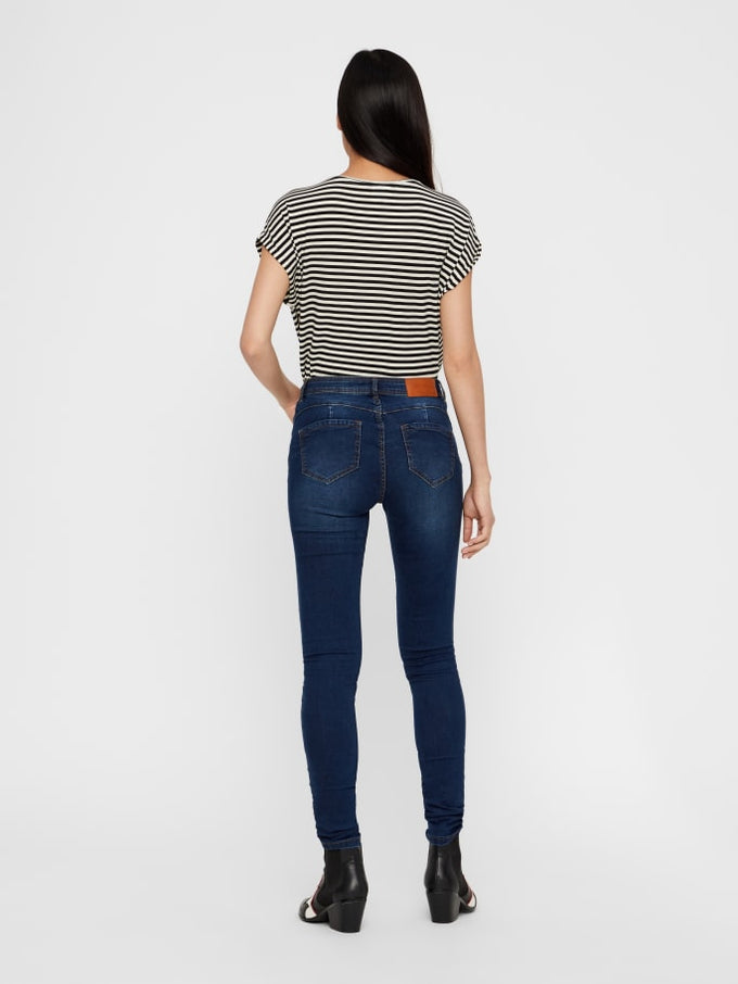 JEN MID WAIST SHAPE-UP SKINNY FIT JEANS Dark Blue Denim