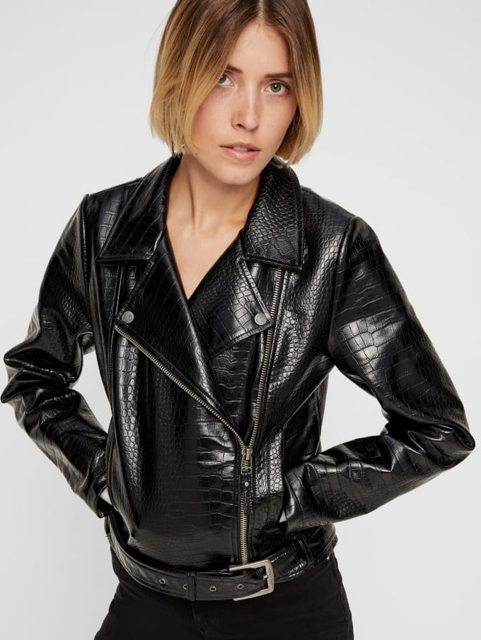 Croc Faux Leather Moto Jacket Black