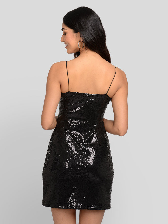 SHORT SPAGHETTI STRAP GLITTER DRESS Black