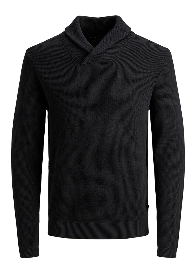DIEGO SHAWL NECK SWEATER Black