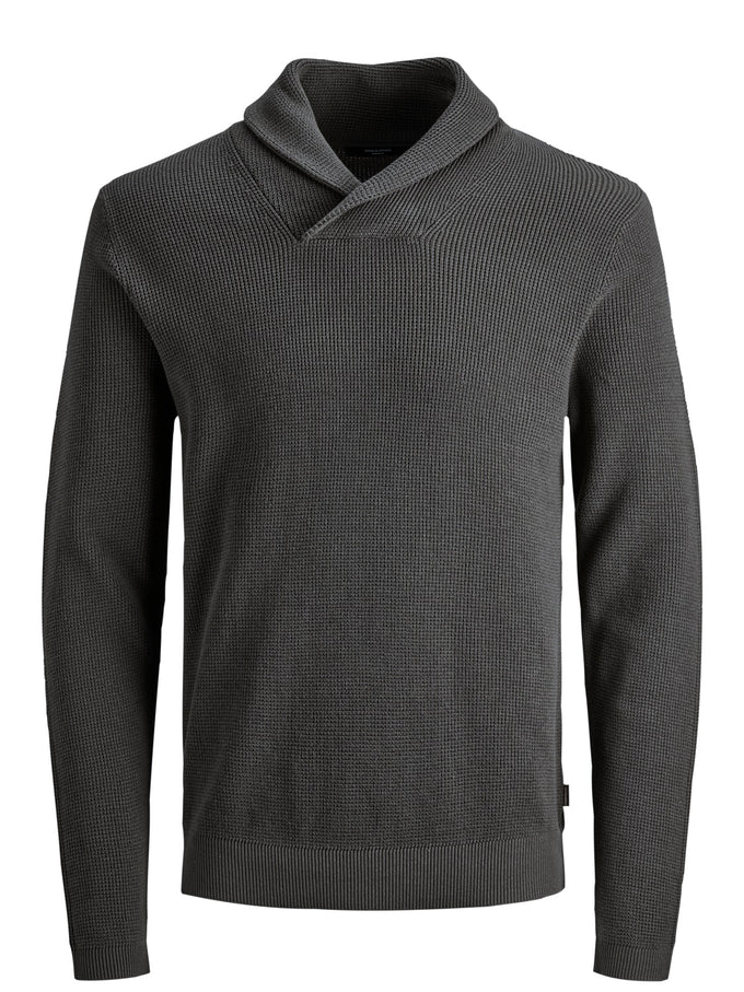 DIEGO SHAWL NECK SWEATER Dark Grey Melange