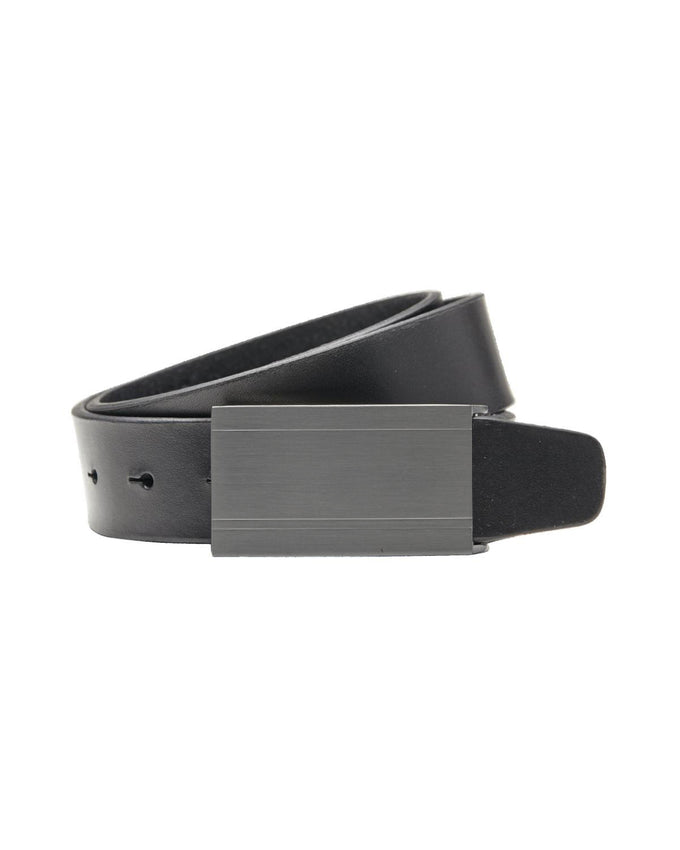 JJPLATE LEATHER BELT BLACK/BLACK