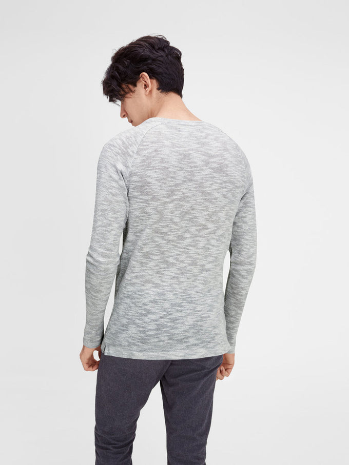 HEATERED SWEATER LIGHT GREY MELANGE