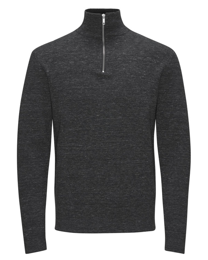 JJPRBENNY TURTLENECK ZIP Dark Grey Melange