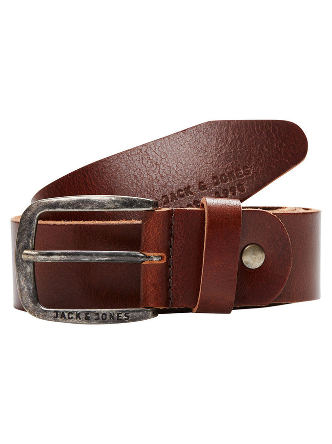 BUFFALO LEATHER BELT BLACK COFFEE