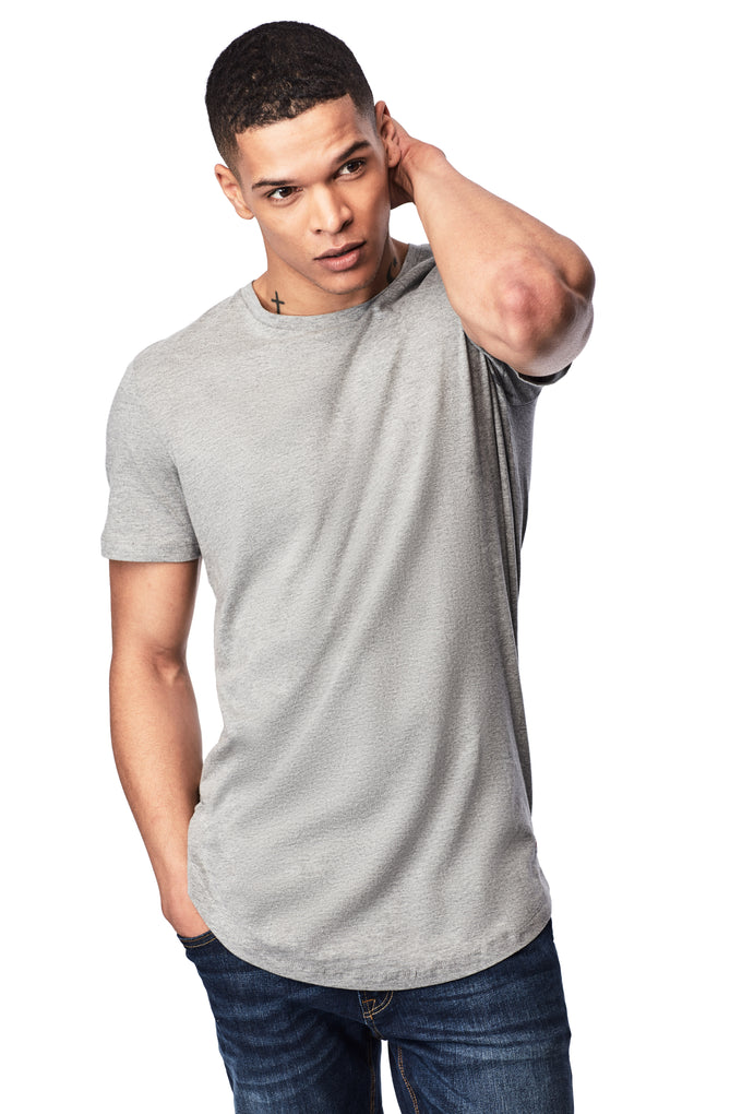 BASIC LONG FIT T-SHIRT LIGHT GREY MELANGE