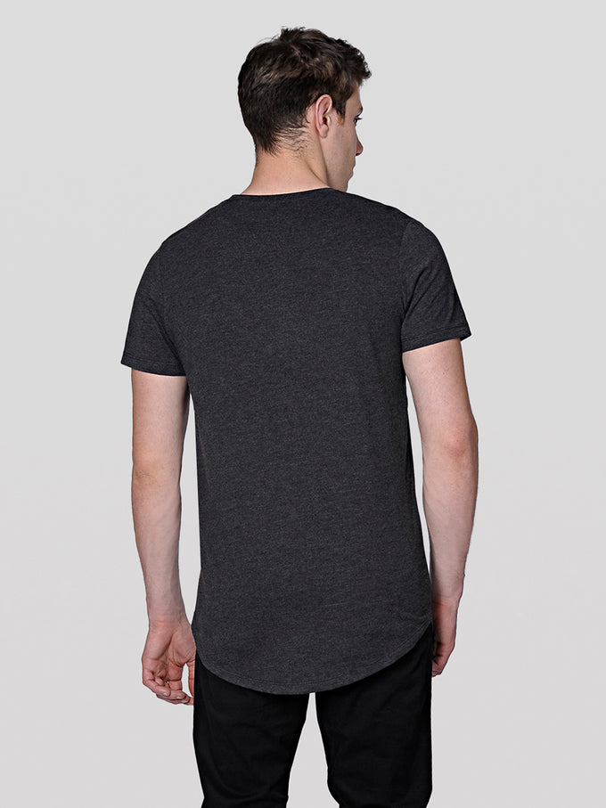 BASIC LONG FIT T-SHIRT DARK GREY MELANGE