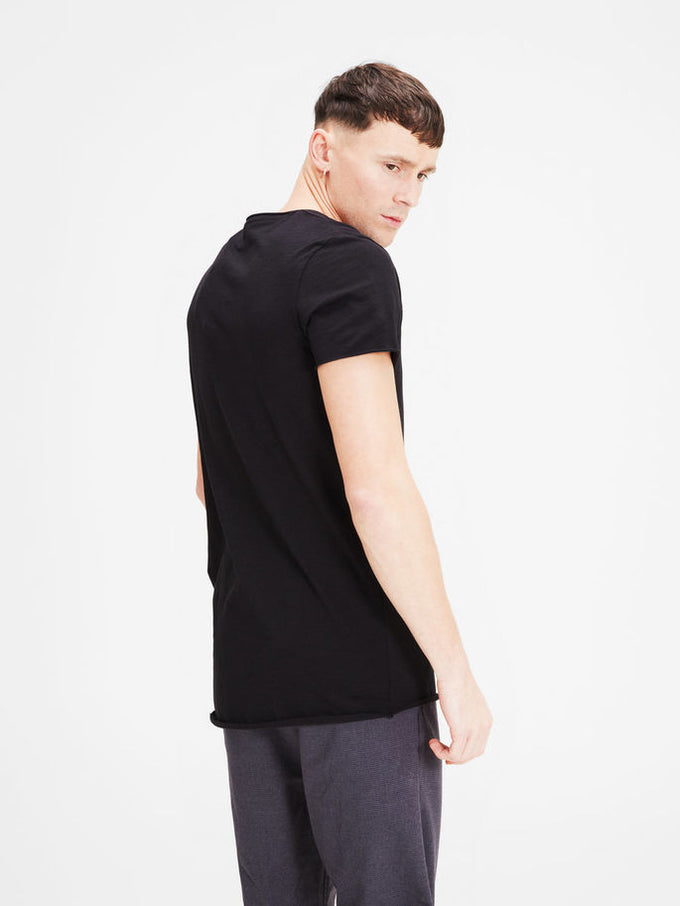 SCOOP NECK CASUAL T-SHIRT BLACK