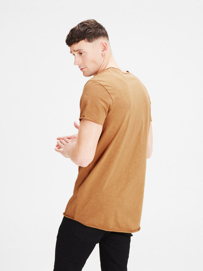 SCOOP NECK CASUAL T-SHIRT TIGER'S EYE