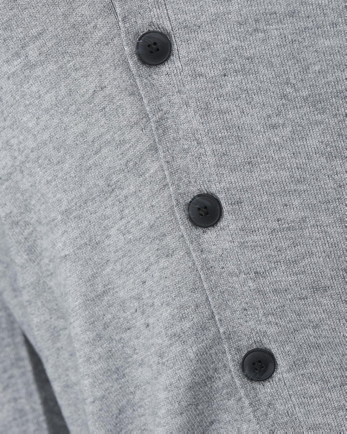 CLASSIC BUTTONED CARDIGAN GREY MELANGE