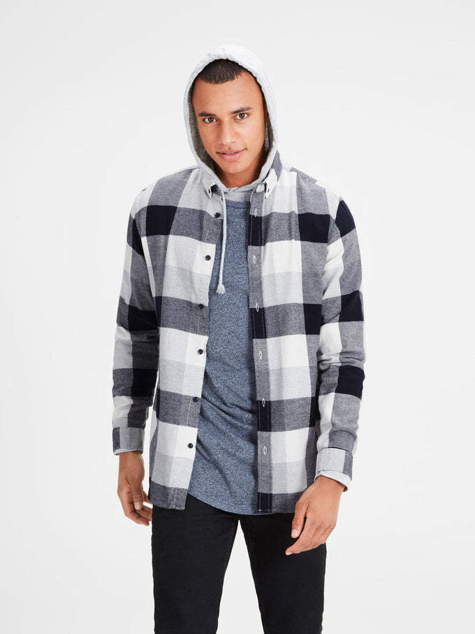 LONG SLEEVE CHECKERED SHIRT LIGHT GREY MELANGE