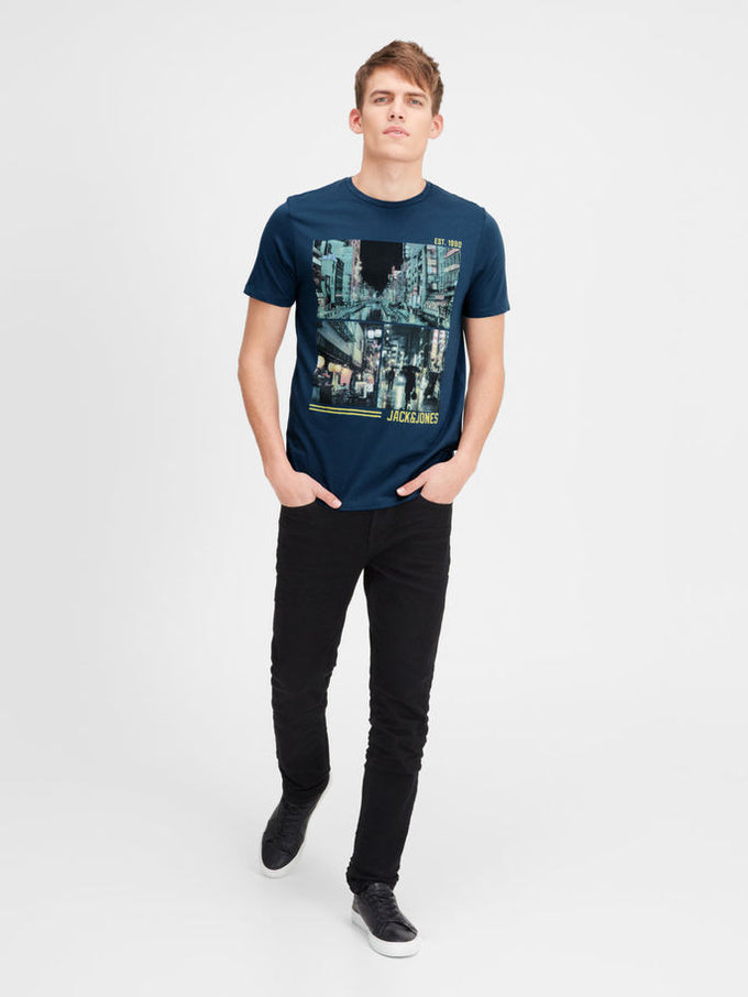 T-SHIRT JJORCARTOON BLEU DENIM