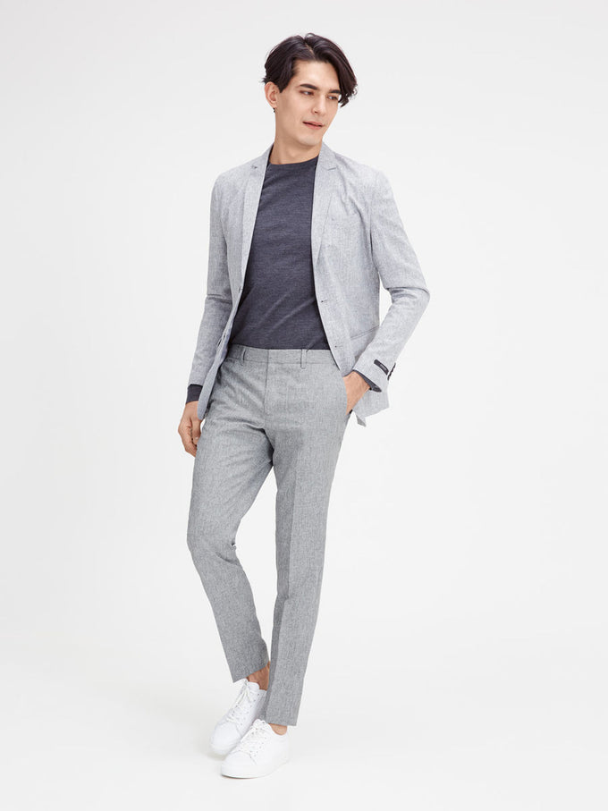 TWO-TONE DRESS PANTS GREY MELANGE