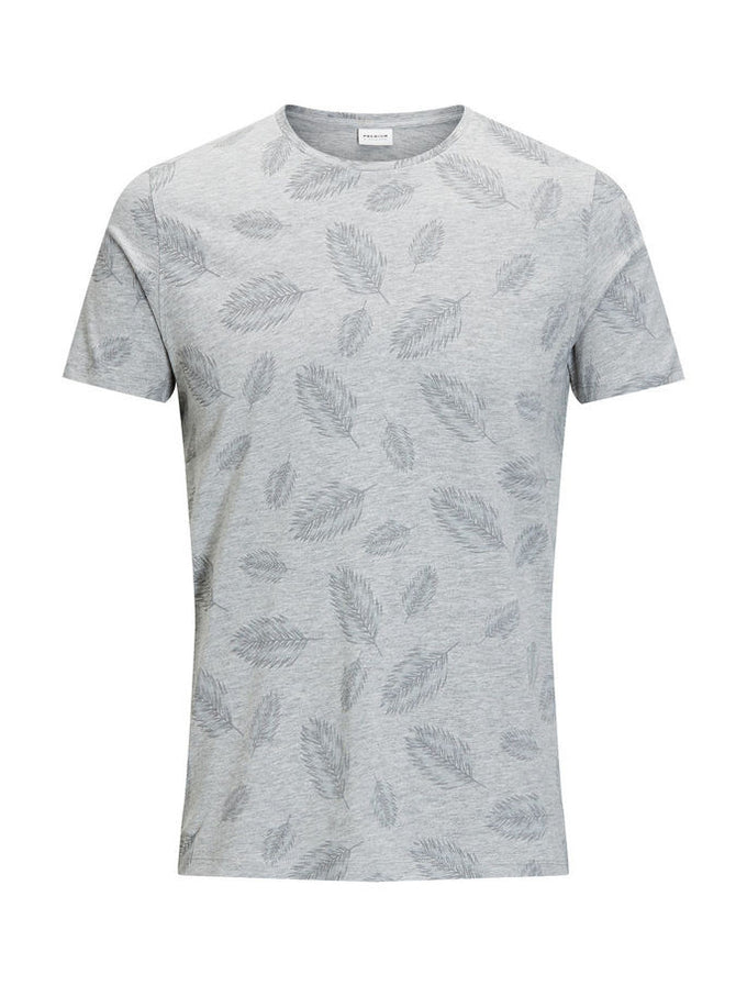 JJPRLEAF T-SHIRT LIGHT GREY MELANGE