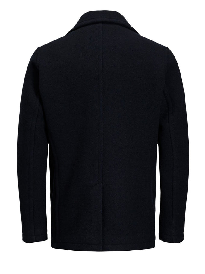 DOUBLE-BREASTED VINTAGE WOOL PEACOAT DARK NAVY