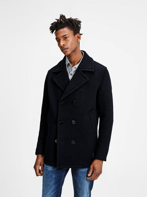 DOUBLE-BREASTED VINTAGE WOOL PEACOAT