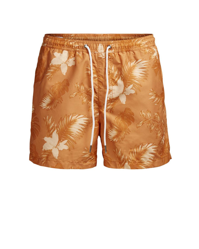 FLORAL PRINT SWIM SHORTS CORAL GOLD