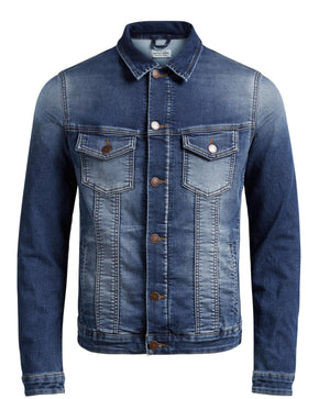 INDIGO KNIT WASHED DENIM JACKET