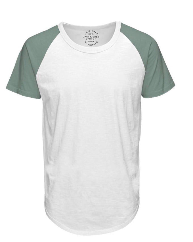 BASEBALL STYLE LONG FIT T-SHIRT CLOUD DANCER/GREEN
