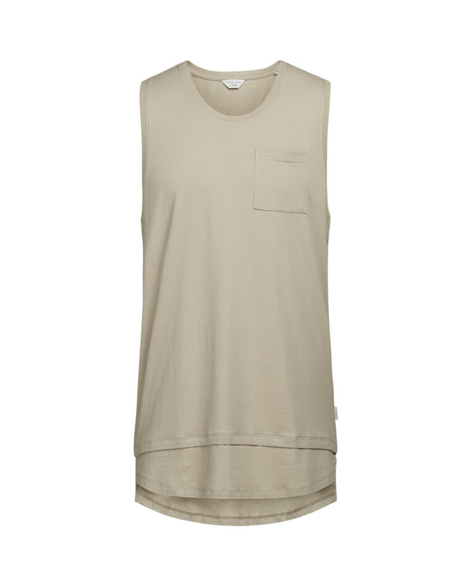 CAMISOLE À COUPE LONGUE À SUPERPOSITION TAUPE