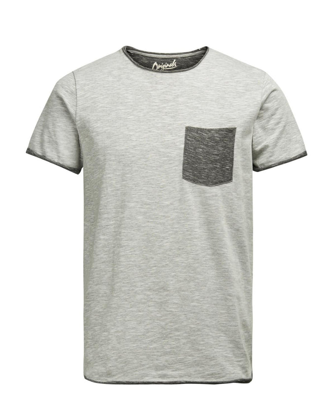 JJORLOWDOWN T-SHIRT LIGHT GREY MELANGE