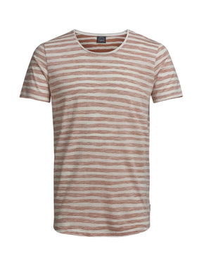 REVERSED LONG FIT STRIPED T-SHIRT