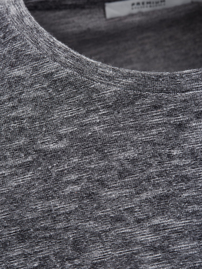 HEATHERED LONG T-SHIRT BLACK