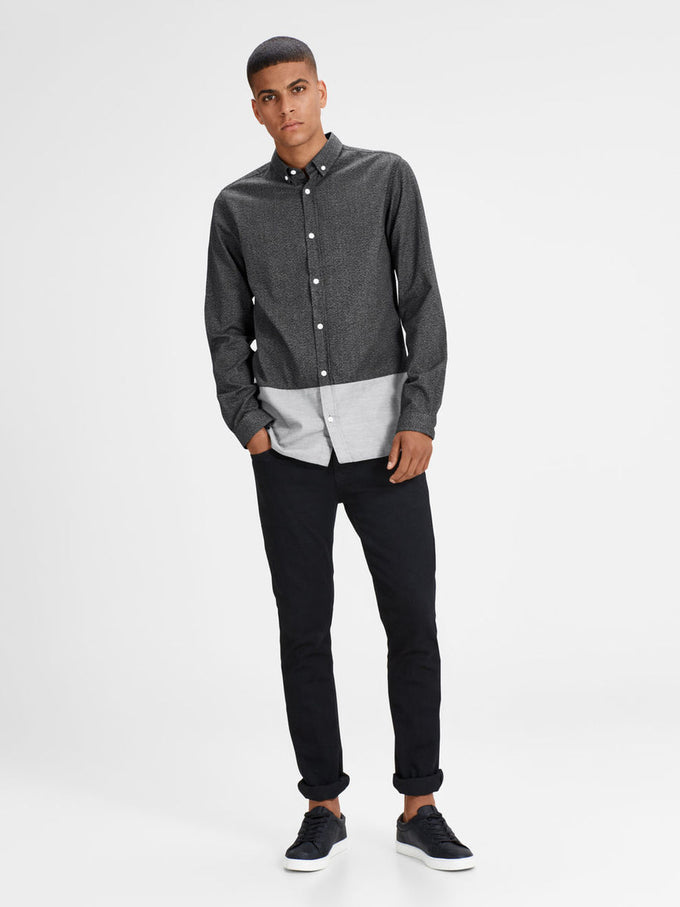 COLOR BLOCK STYLE CASUAL SHIRT BLACK