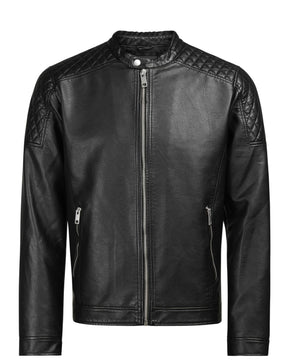 MOTO STYLE EMBOSSED FAUX LEATHER JACKET