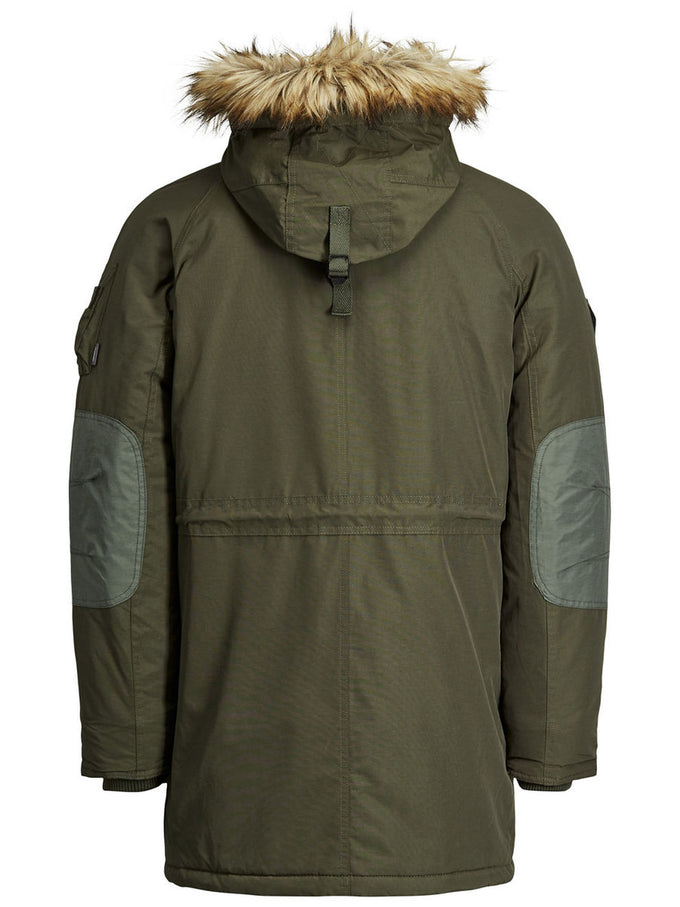 HOODED PARKA WITH CONTRAST LINING FOREST NIGHT