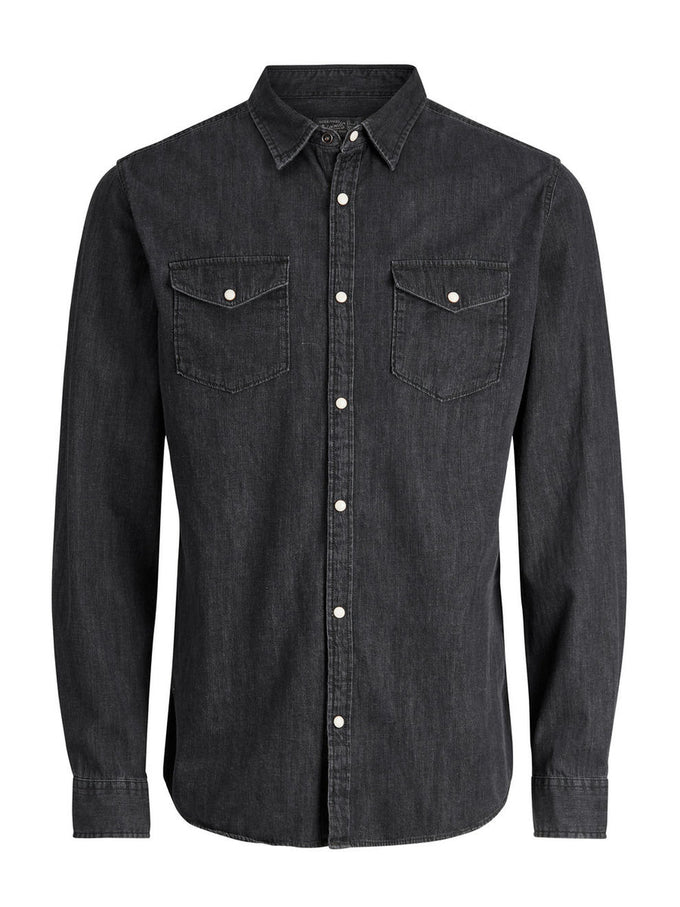 BLACK DENIM SLIM FIT SHIRT BLACK DENIM