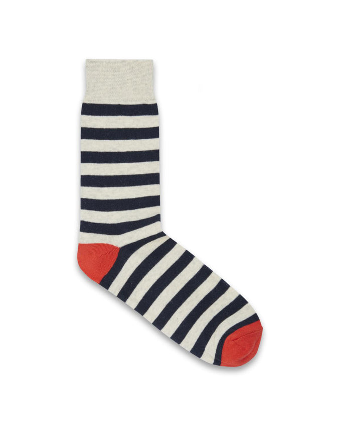 CONTRAST DETAILS STRIPED SOCKS WHITE MELANGE