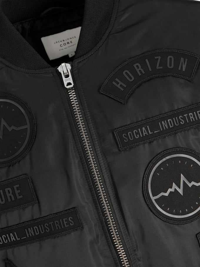 BOMBER JACKET WITH EMBROIDERED DETAILS BLACK