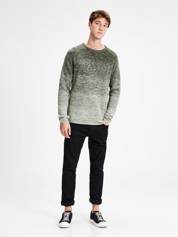 GRADIENT STYLE KNIT SWEATER FOREST NIGHT