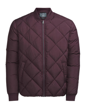 QUILTED BOMBER JACKET WITH CONTRAST SLEEVES