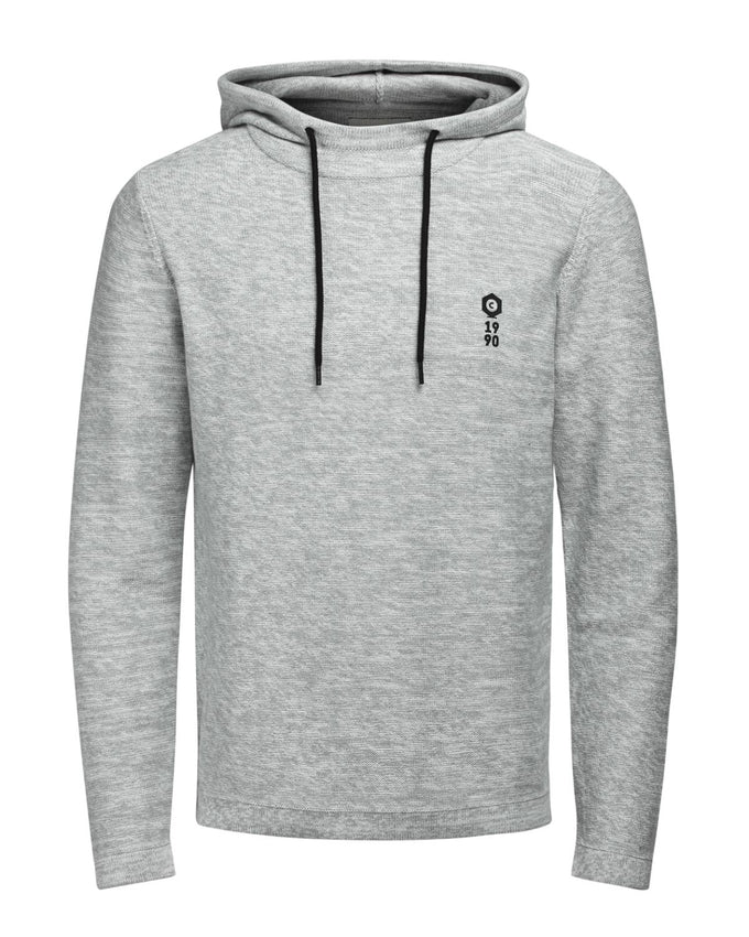 HEATHERED HOODIE WITH EMBROIDERED LOGO LIGHT GREY MELANGE