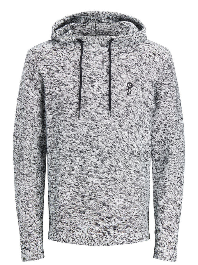HEATHERED HOODIE WITH EMBROIDERED LOGO BLACK