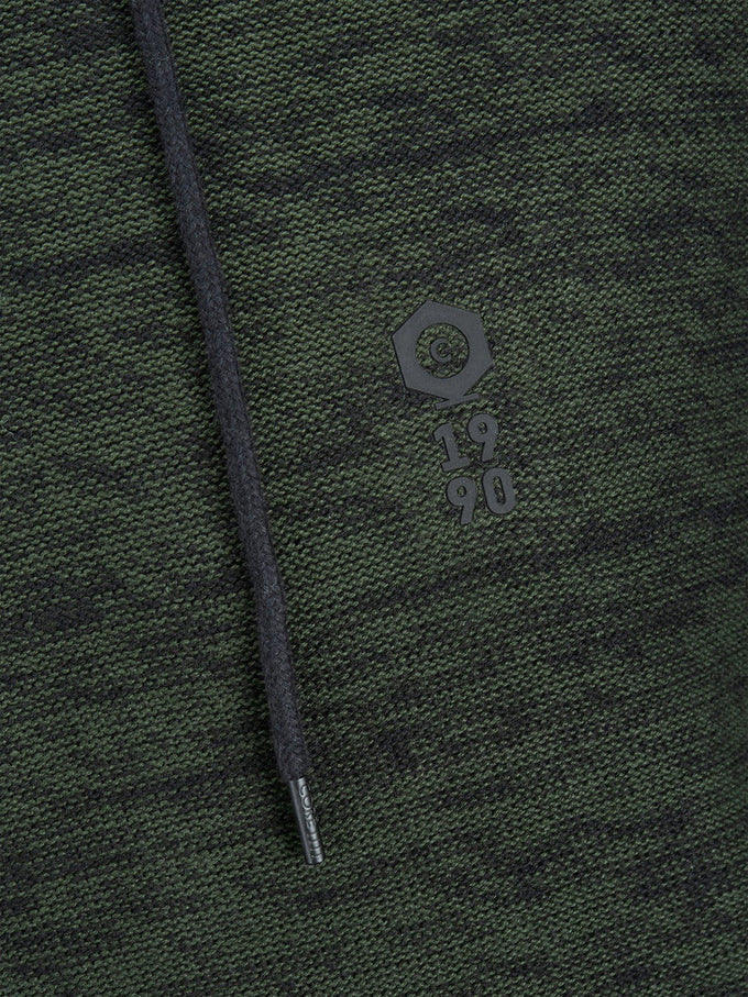 HEATHERED HOODIE WITH EMBROIDERED LOGO ROSIN