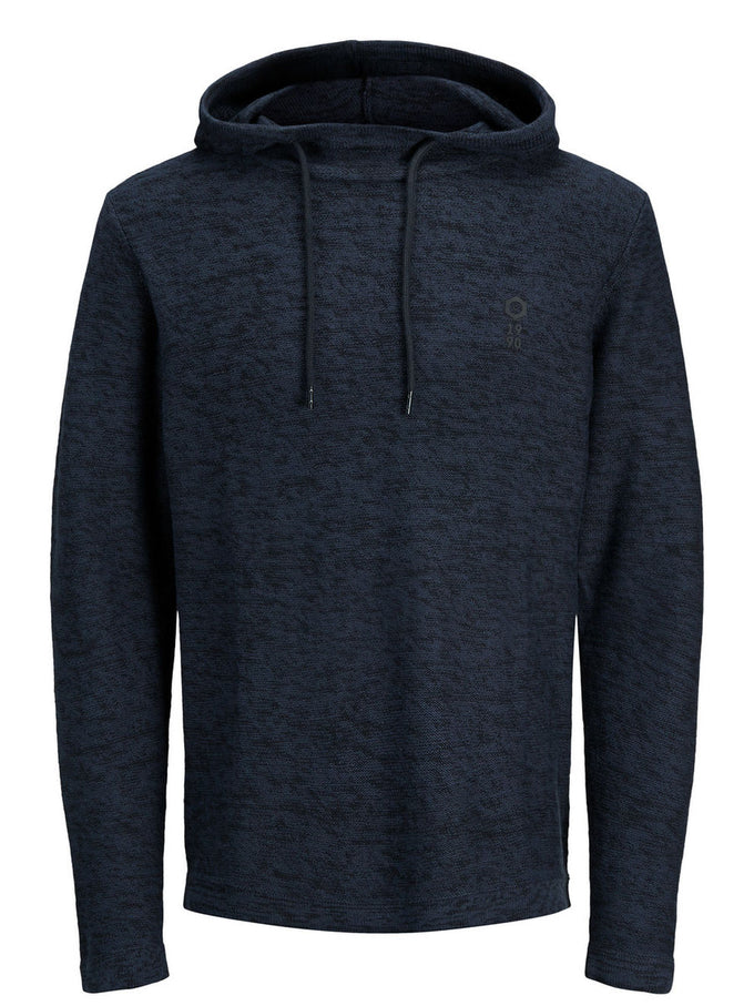 HEATHERED HOODIE WITH EMBROIDERED LOGO SKY CAPTAIN