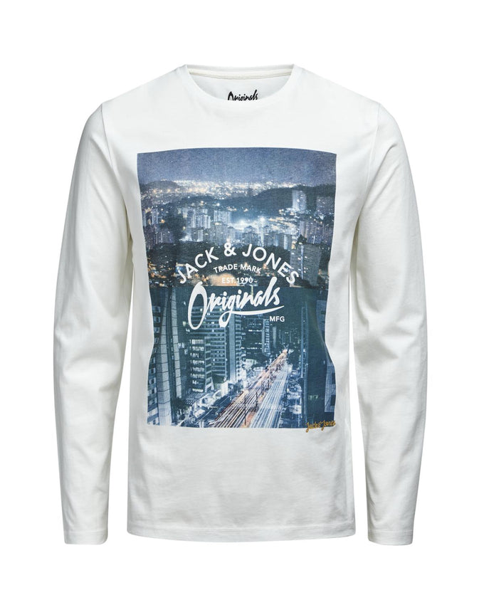 CITY PRINT LONG SLEEVE T-SHIRT CLOUD DANCER