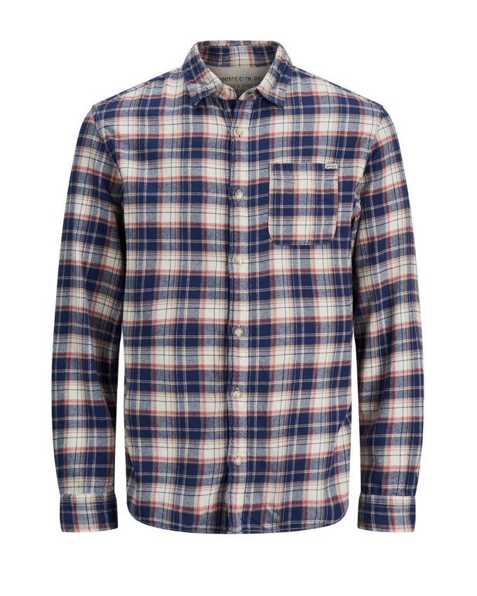CHECKERED SLIM FIT VINTAGE SHIRT CLOUD DANCER
