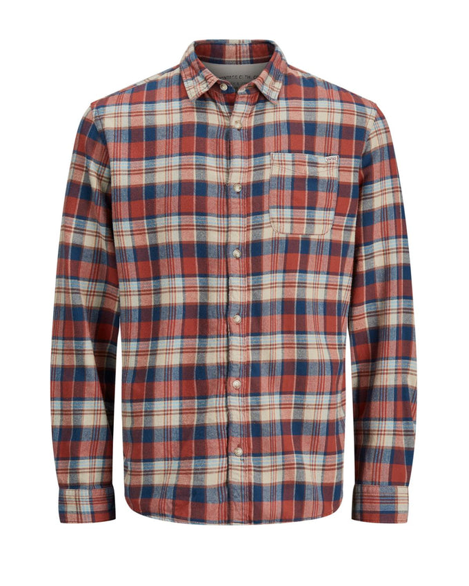 CHECKERED SLIM FIT VINTAGE SHIRT CHILI OIL